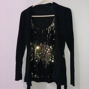 Cardigan and Gold/Black Sequin Tank